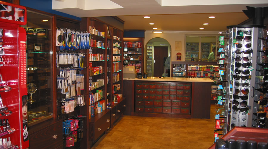 Topsham Pharmacy shelving and counter.