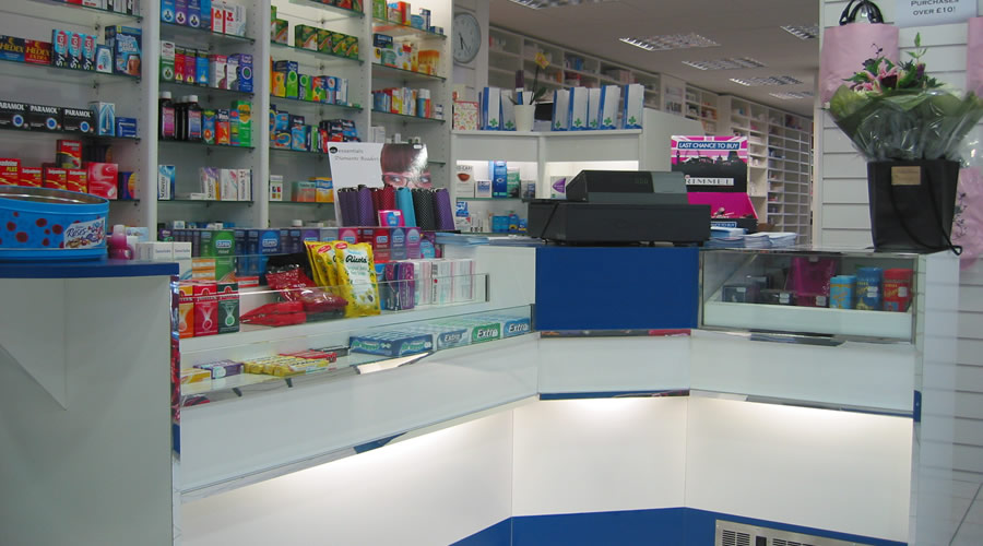 Highfield Pharmacy counter with under lighting.