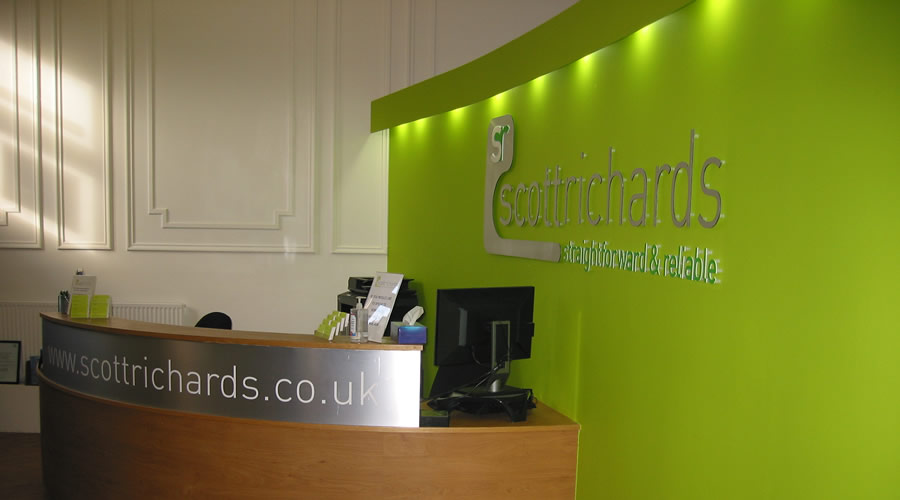 Scott Richards Solicitors welcome office desk area.