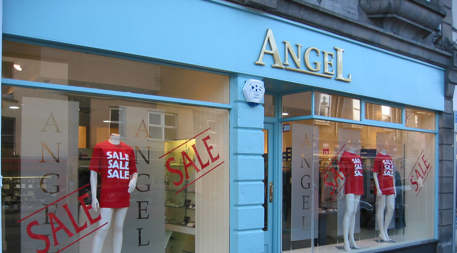 Outside Angel clothing shop.